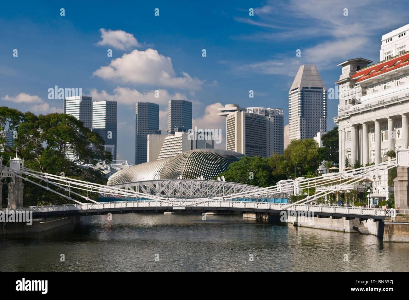 Cavenagh Bridge and Central Business District Singapore Stock Photo