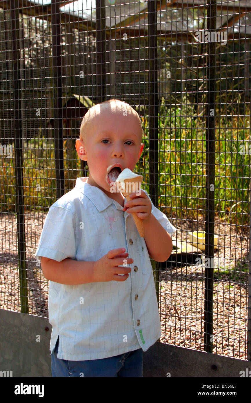 England, Cheshire, Stockport, Cheadle, Bruntwood Park, award-winning children's play area, child eating ice - Stock Image