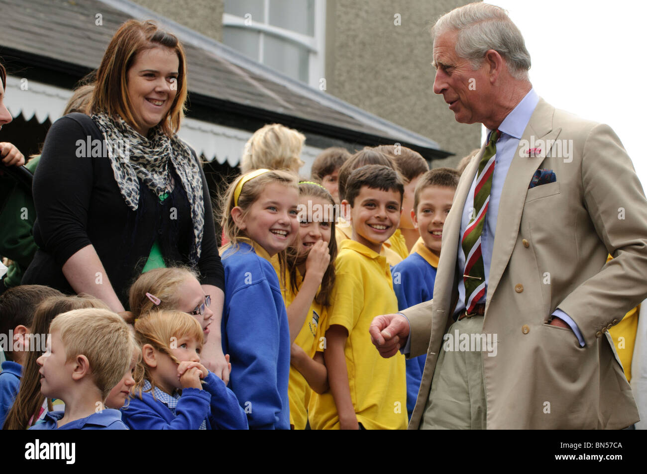 The Prince of Wales visiting the Welsh Woollen Museum, Drefach Felindre, Carmarthenshire, June 28 2010, - Stock Image