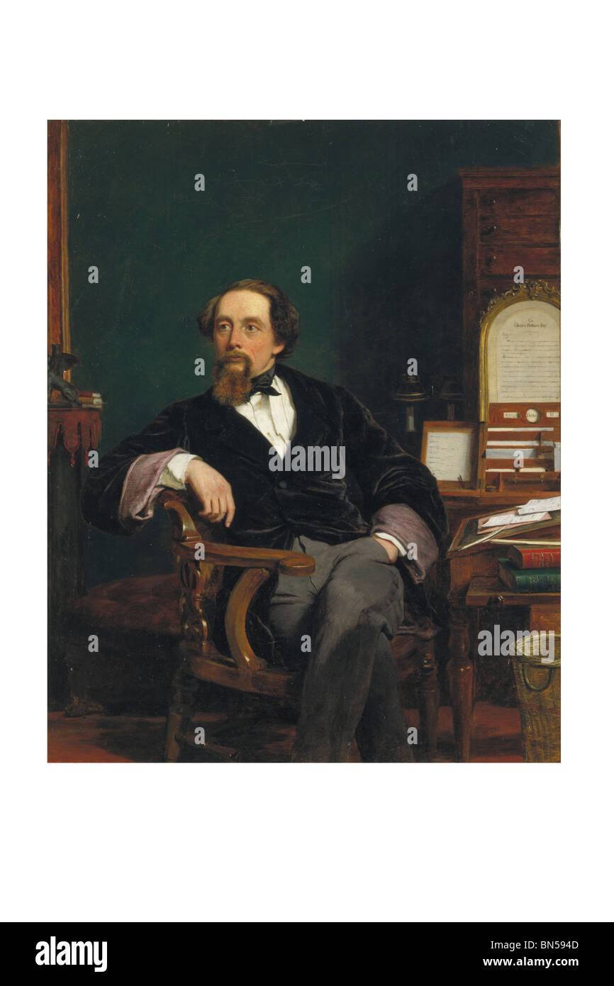 Charles Dickens at the age of 47, by William Powell Frith. London, England, 1859 - Stock Image