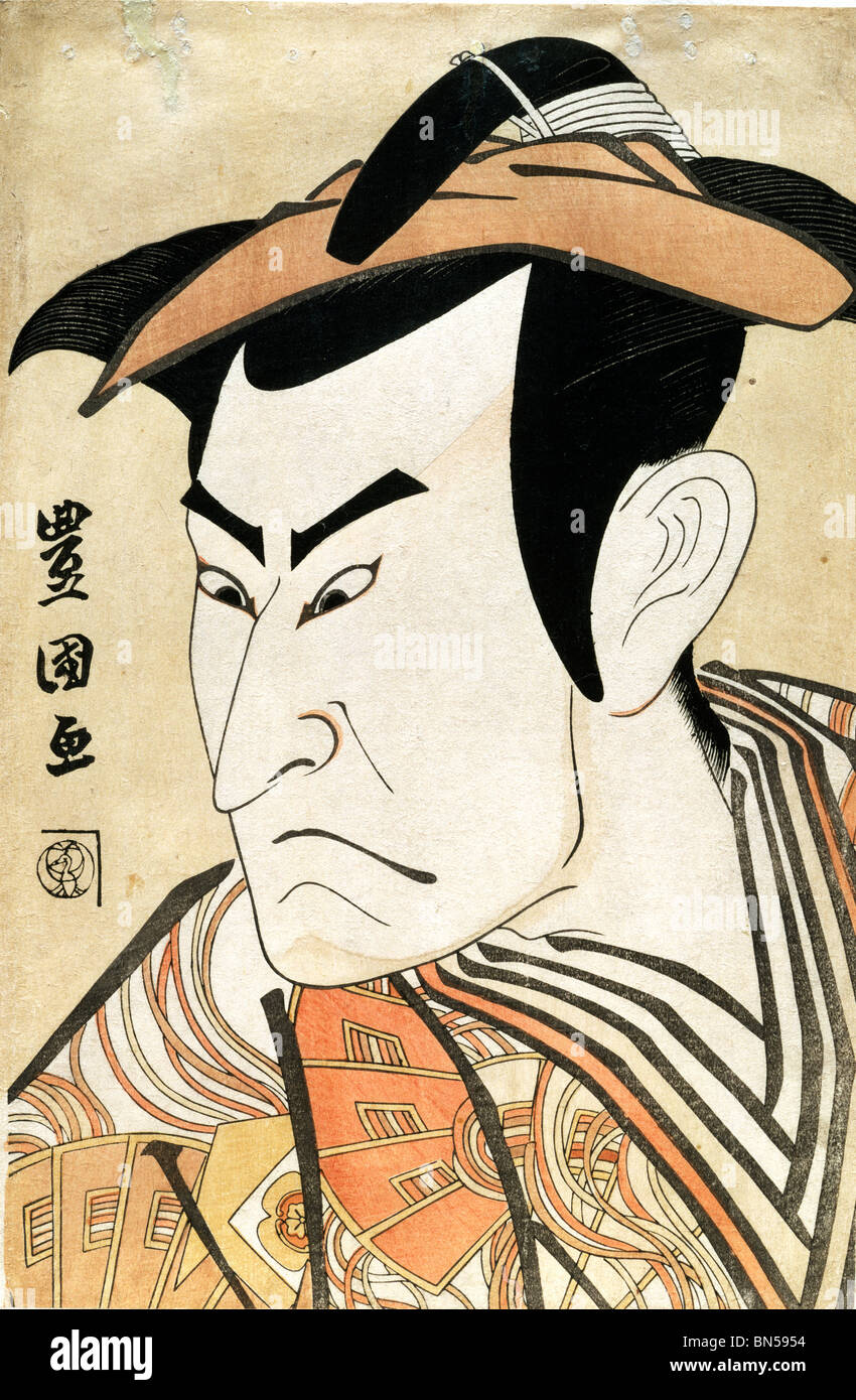 Onoe Matsusuke I as Kudo Suketsune, by Utagawa Toyokuni. Japan, 1800 - Stock Image
