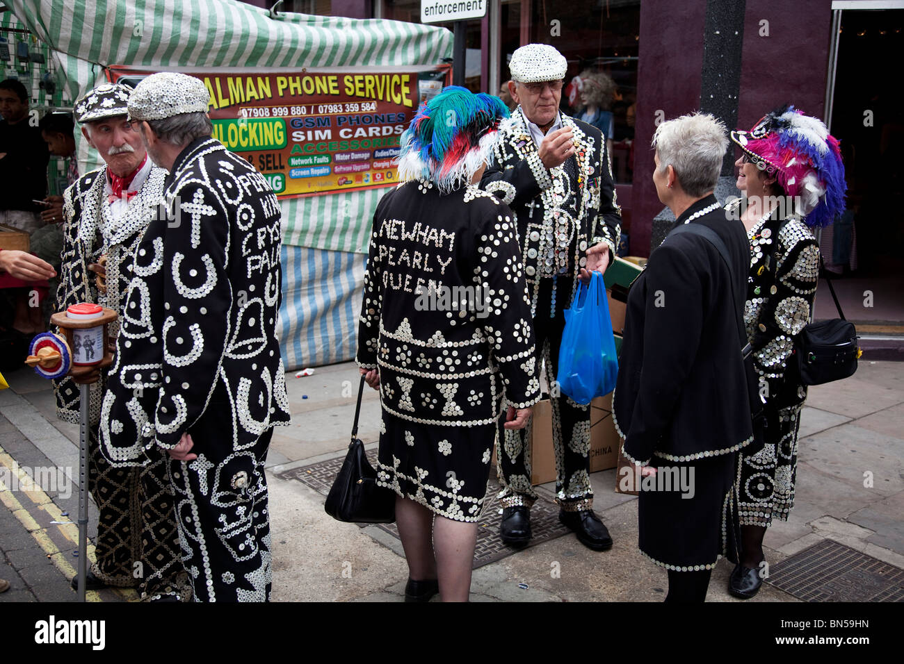 Pearly Kings and Queens in the East End of London. They are an organised charitable tradition of working class culture Stock Photo