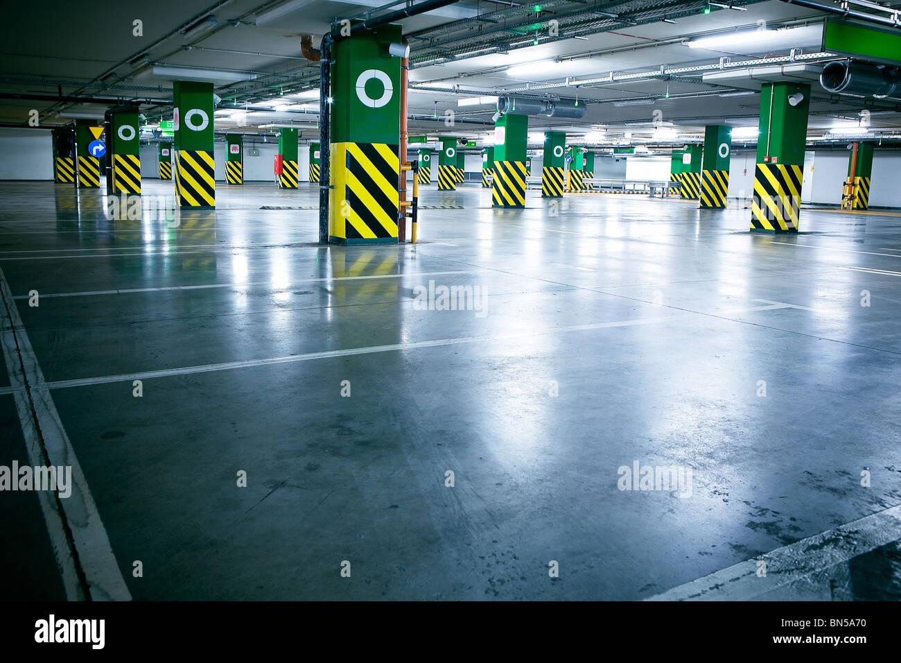 Parking garage - underground interior - Stock Image