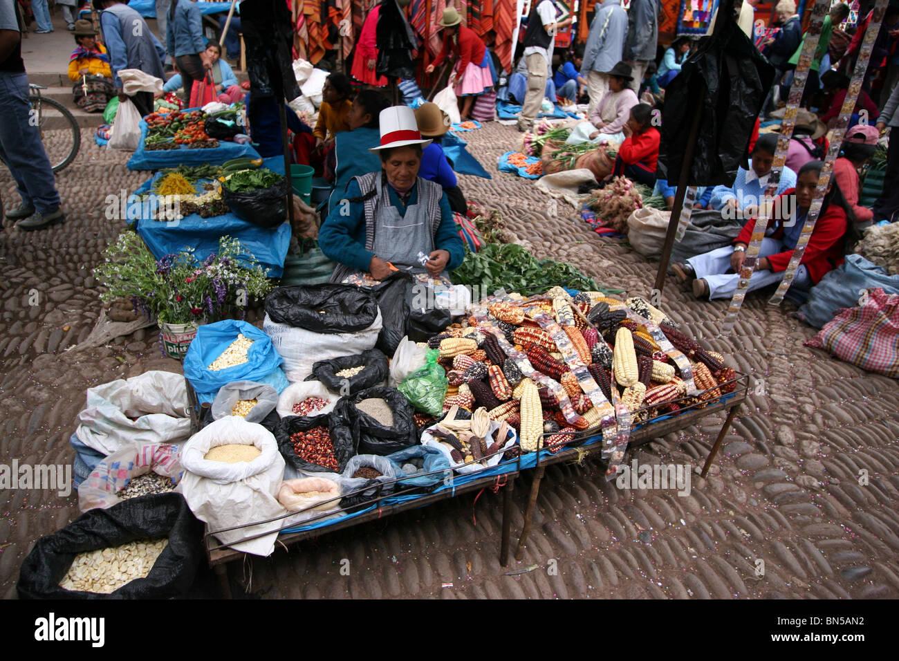 Market in Pisac, Peru Stock Photo