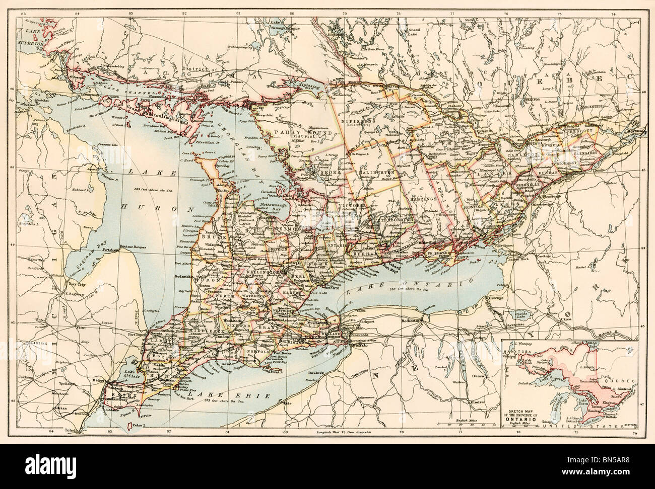 Onterio Canada Map.Map Of Ontario Canada 1870s Color Lithograph Stock Photo