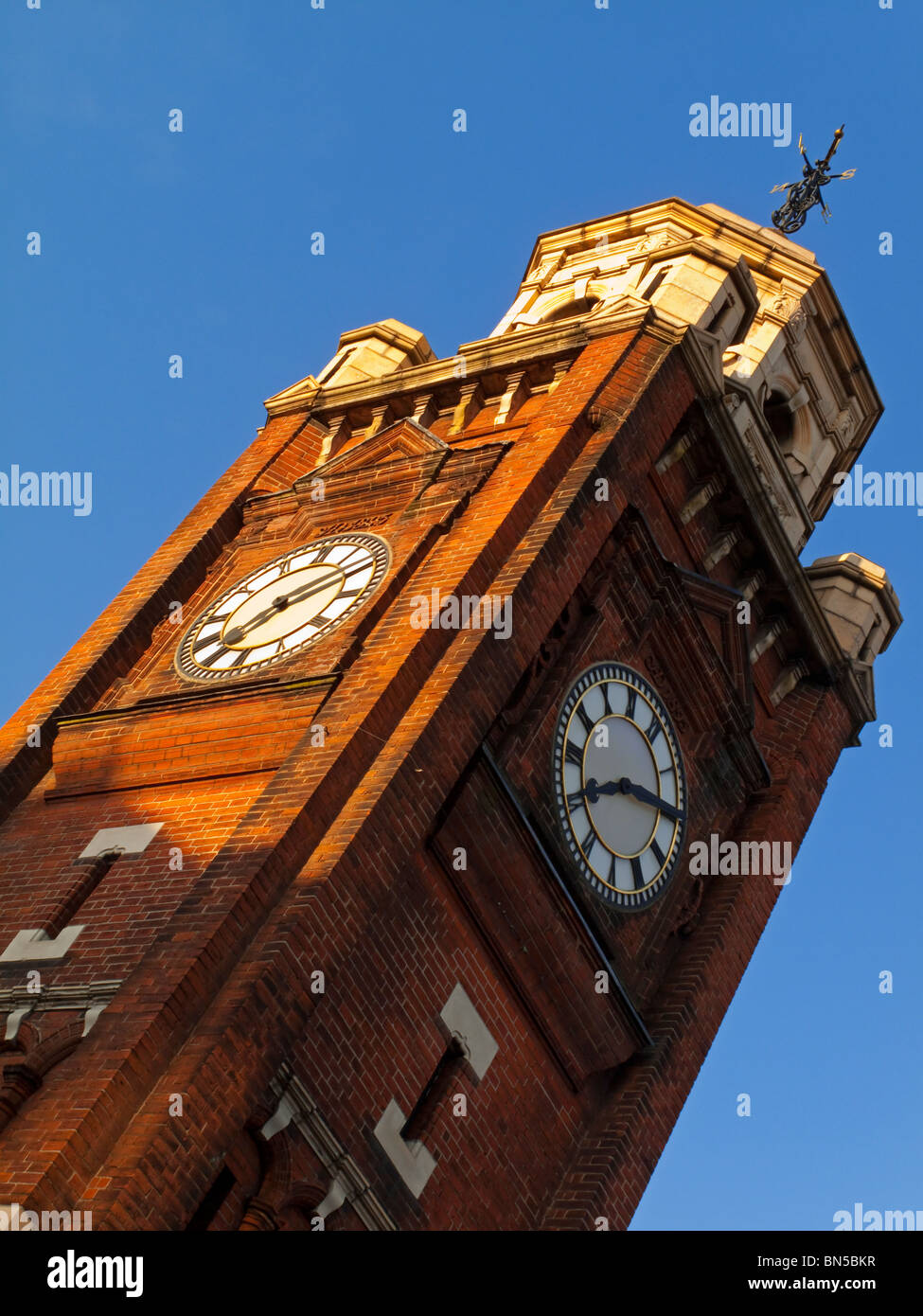 Clock tower in the centre of Crouch End Broadway in Haringey North London built as a memorial to Henry Reader Williams - Stock Image