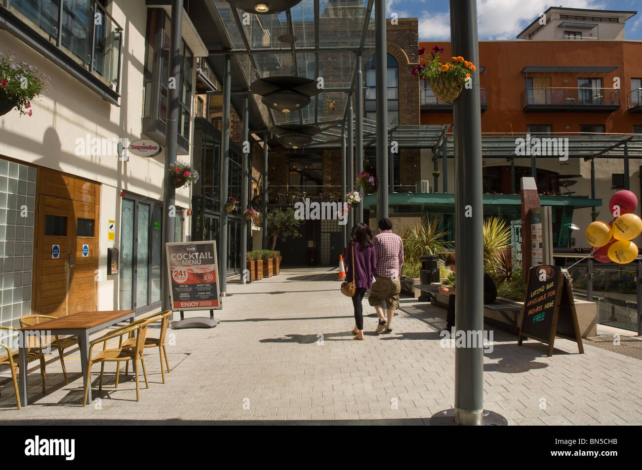 Al fresco restaurant exterior, Brains Brewery, Cardiff, Wales, UK, Europe - Stock Image
