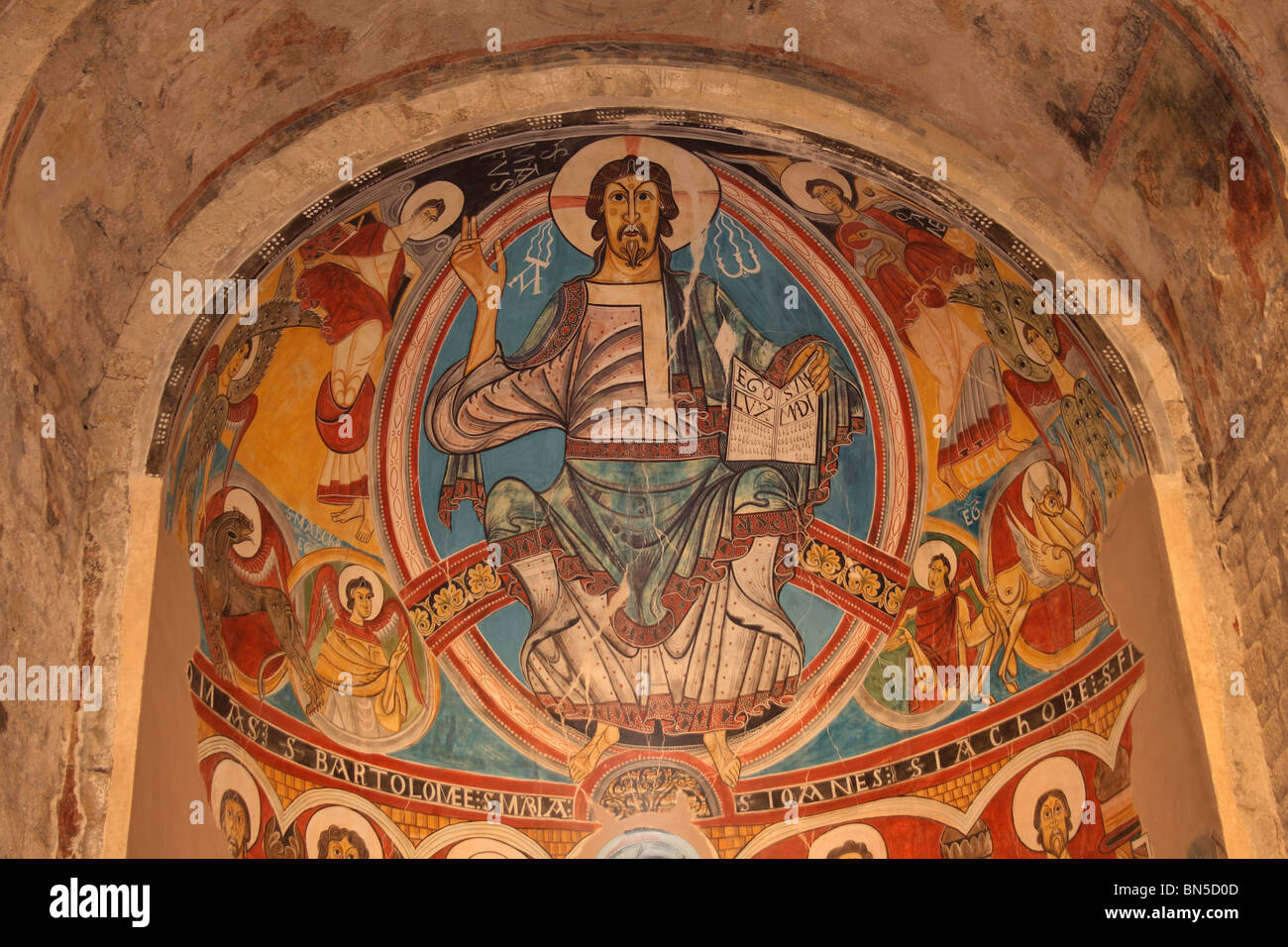 Romanesque Mural, Sant Climent de Taull Church, Taull, Vall de Boi, Pyrenees, Catalunya, Spain - Stock Image