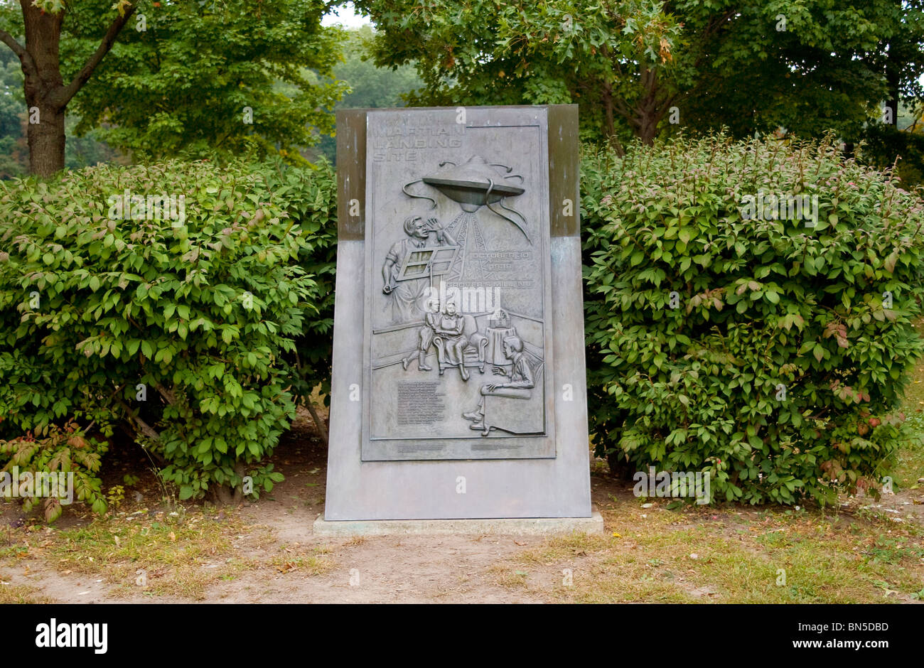 Monument to the Martian Landing Site as told on Orson Well's famous broadcast in 1938 located in Grovers Mill, - Stock Image