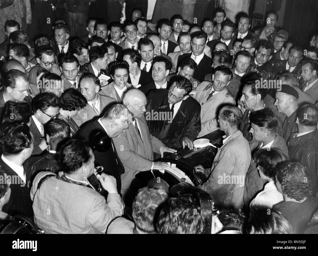 NIKITA KRUSHCHEV  (1894-1971) visiting an engineering factory in Czechoslovakia - Stock Image