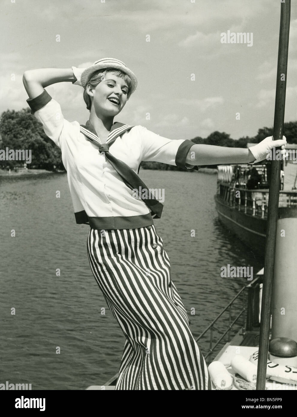 JILL IRELAND (1936-1990) English actress here while filming Three Men In A Boat in 1956 - Stock Image