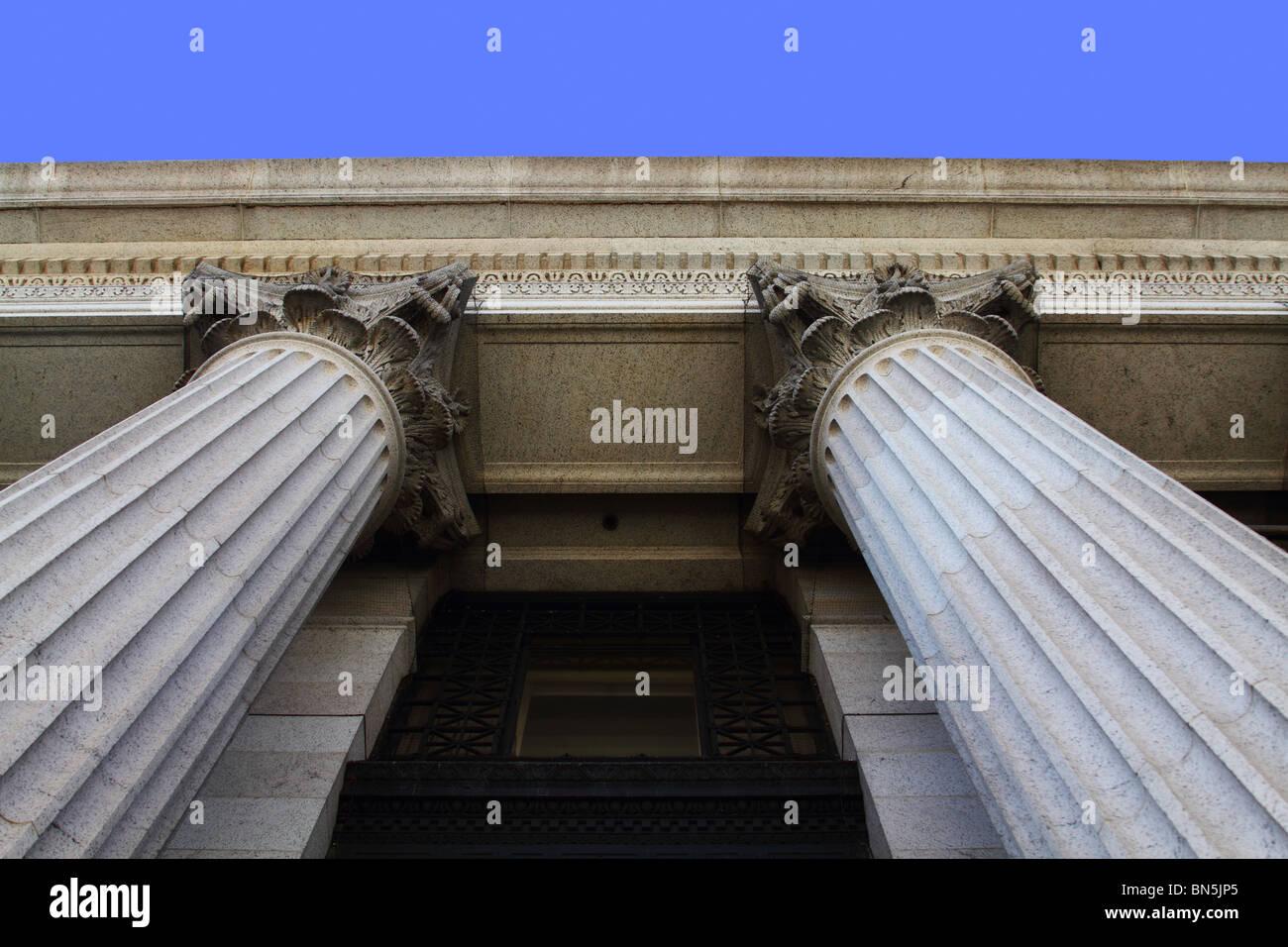 Two large Corinthian columns. - Stock Image