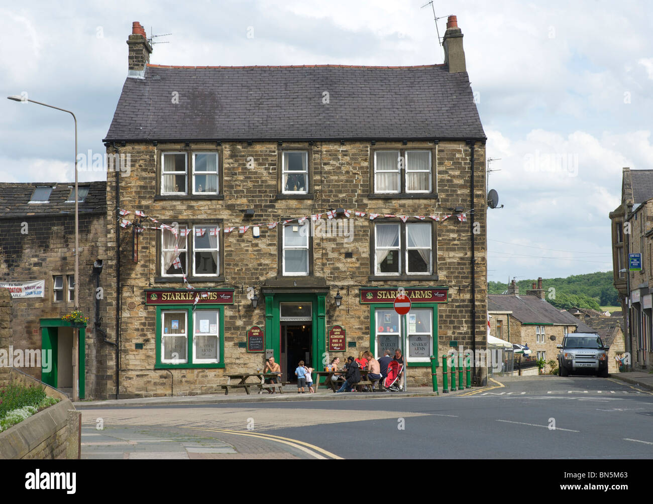 Local pub - the Starkie Arms - in Padiham, Lancashire, England UK - Stock Image