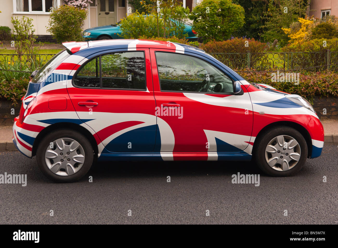 A Nissan Micra in Union Jack livery in the Uk - Stock Image