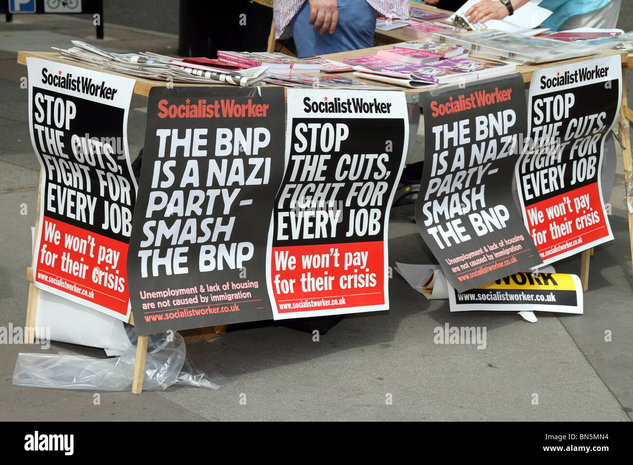 Socialist Worker anti BNP posters at Gay Pride London 2010 - Stock Image