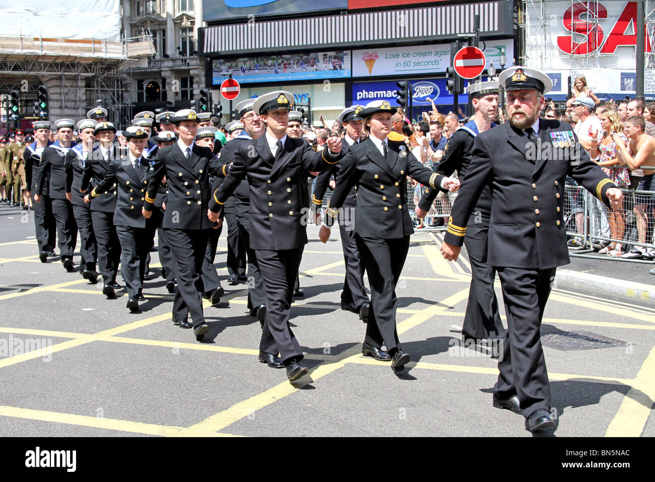 Gay members of the Royal Navy marching at the 40th Anniversary of Pride - Gay Pride Parade in London, 3rd July 2010 - Stock Image