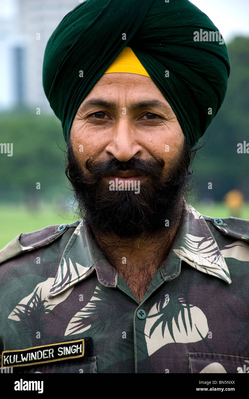 sikh army officer, maidan calcutta west bengal india - Stock Image
