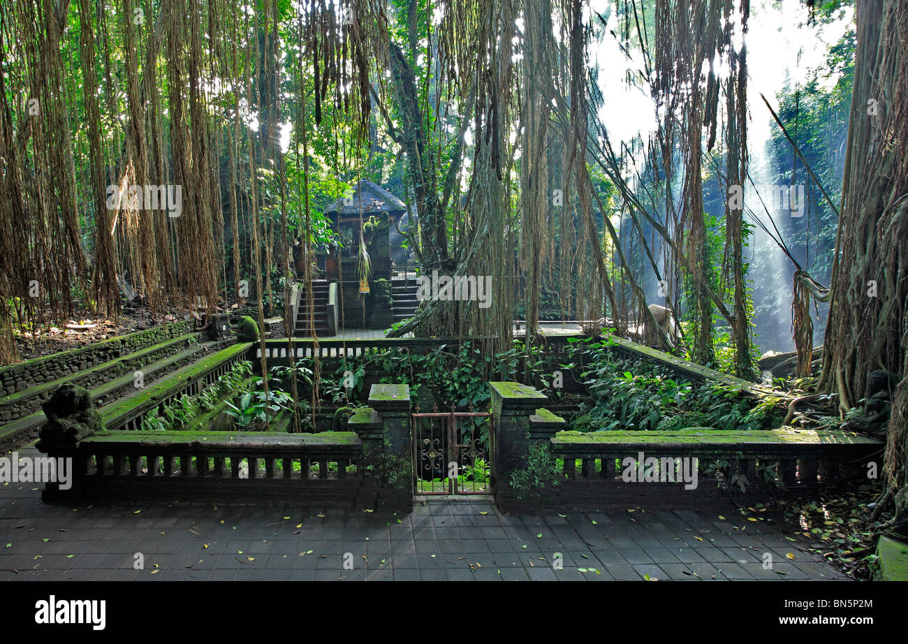 Holy Spring Bathing Pool and Temple in the Sacred Monkey Forest. Ubud, Bali, Indonesia. - Stock Image