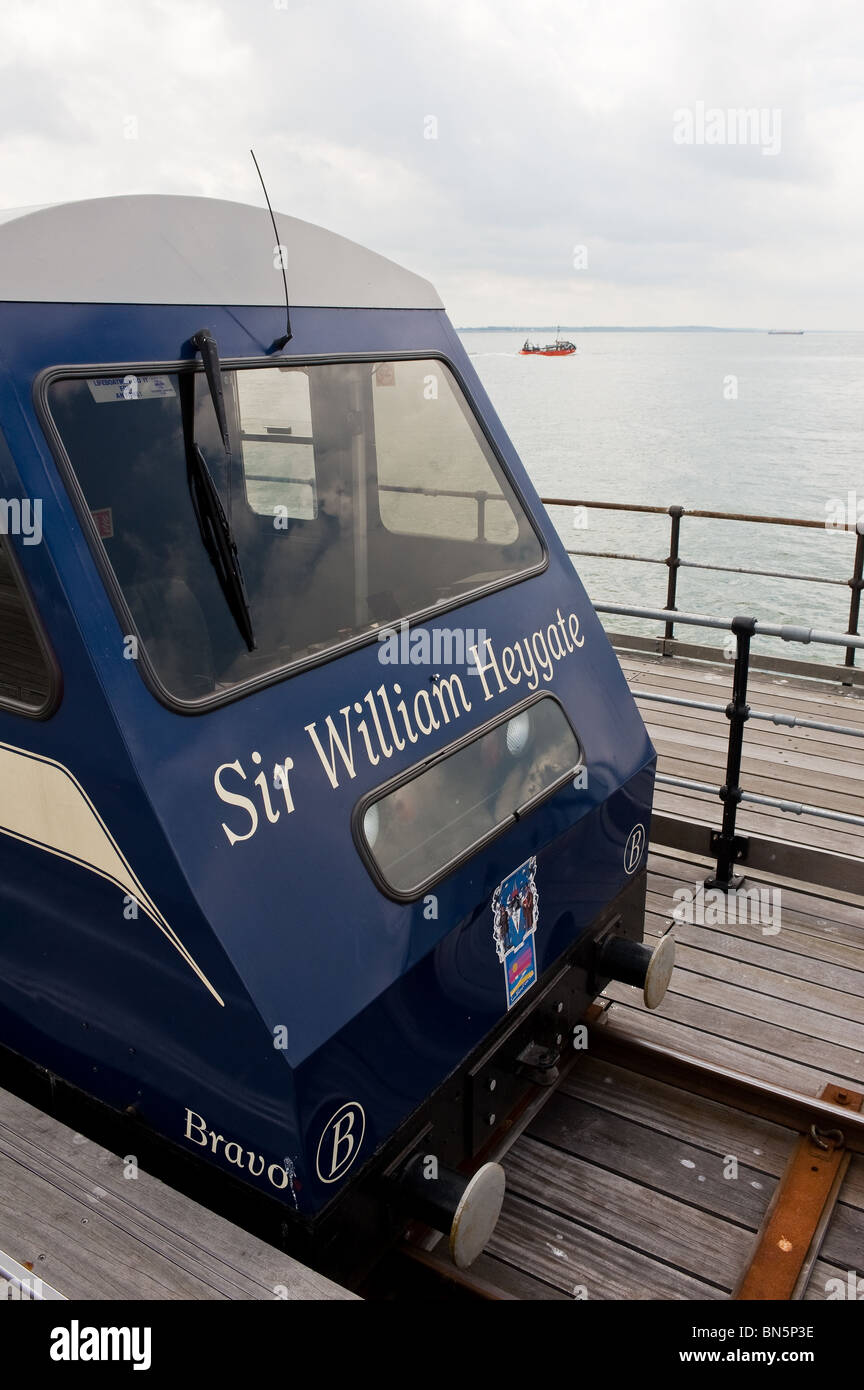 The front of an electric train on Southend Pier in Essex - Stock Image