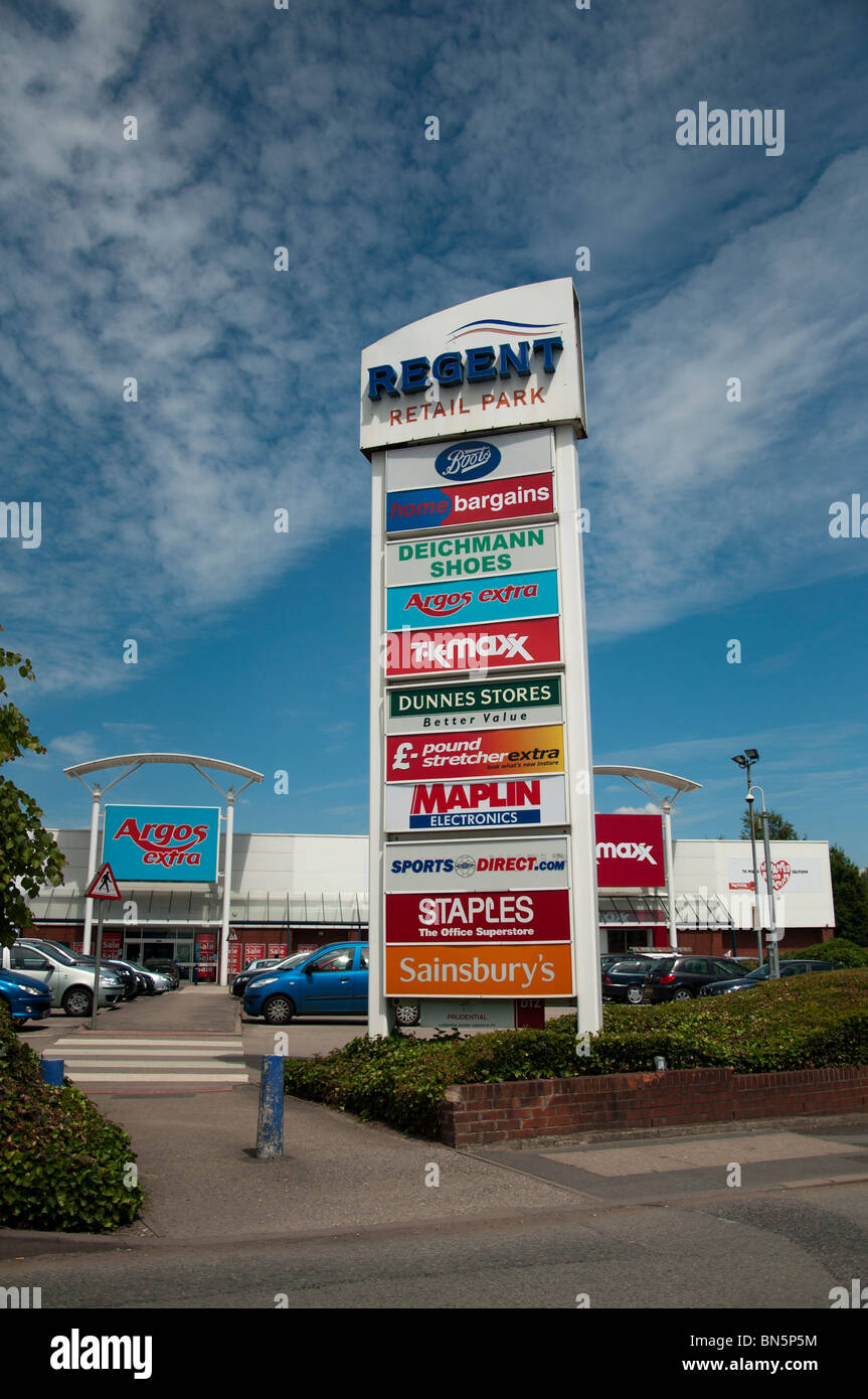 A sign advertising the different shops at The Regent Retail Park in Salford, Manchester, England. - Stock Image