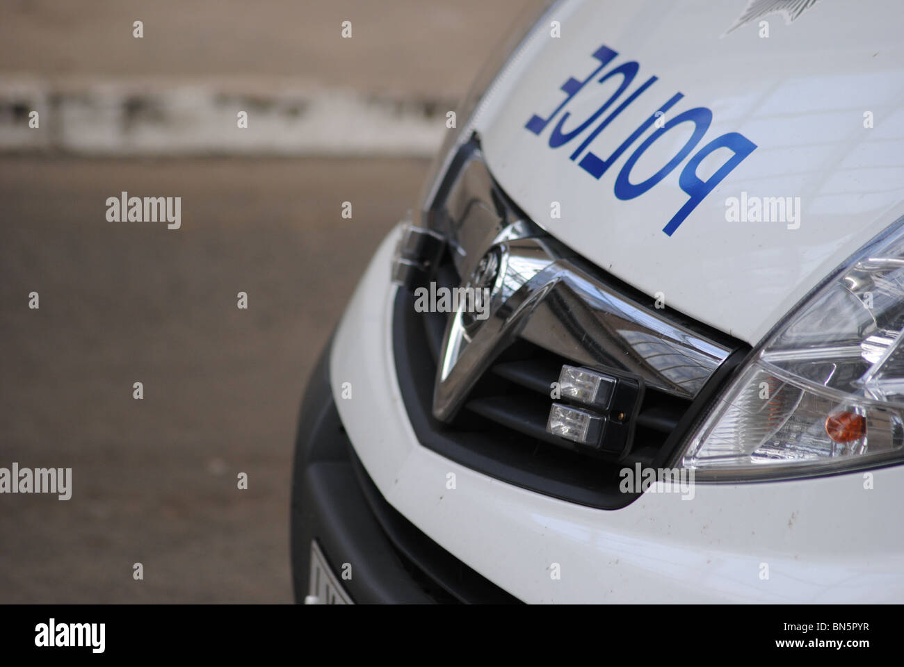 Front of a Police van parked at Glasgow Central Railway Station. - Stock Image