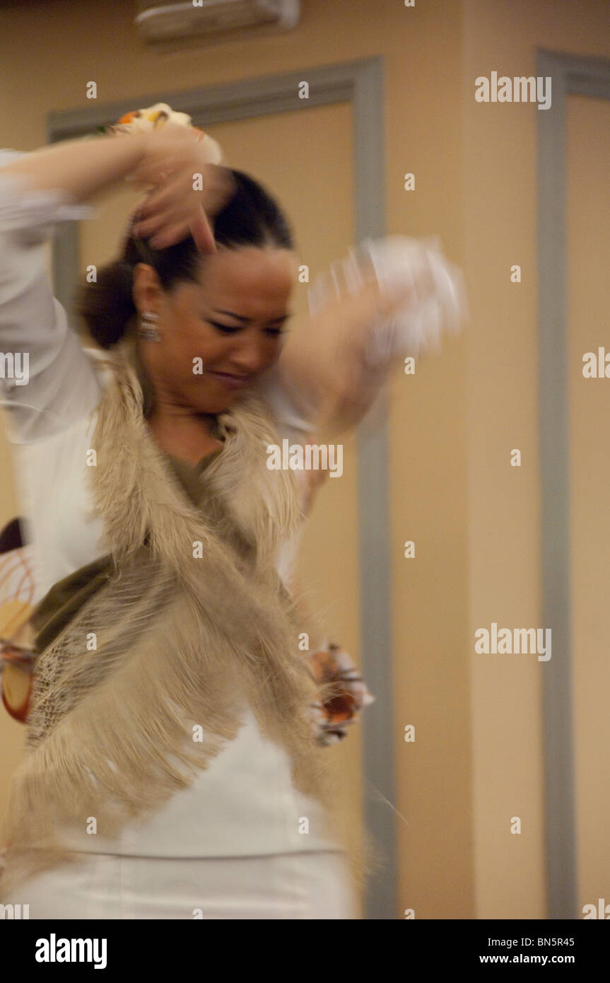 Spain, Cadiz Province, Seville. Traditional flamenco dancer, in typical attire. - Stock Image