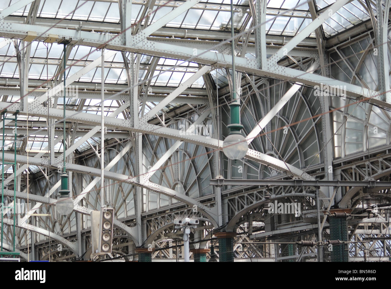 Internal Architecture - Glasgow Central Railway Station. - Stock Image