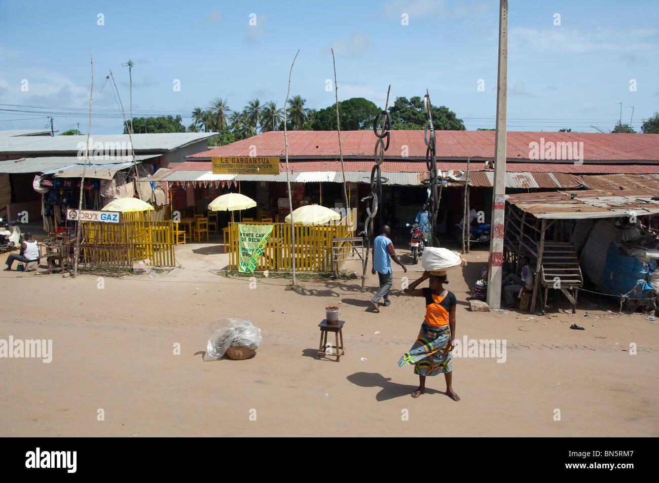 Africa, Benin, Ouidah. Typical street scene in Ouidah. - Stock Image