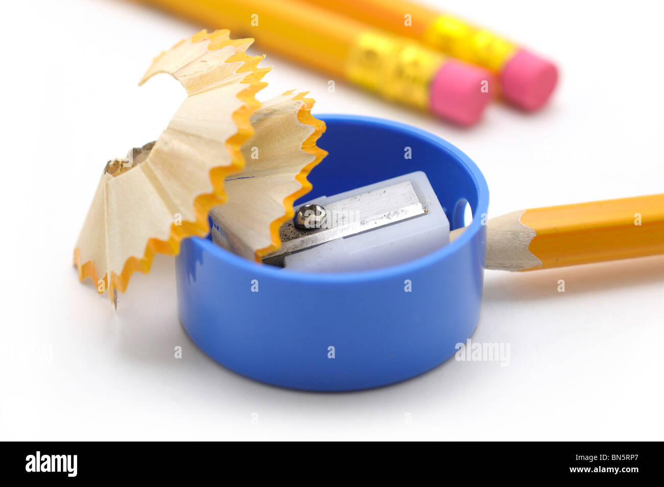 Pencil Sharpener and Pencils - Stock Image