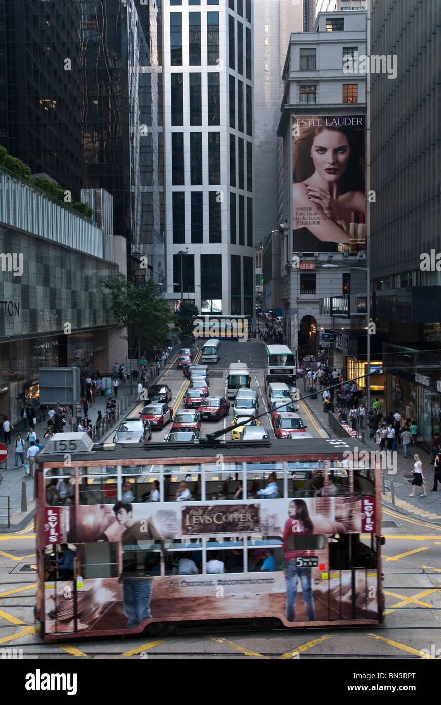 Crossing Pedder Street with Des Voeux Road in Central Hong Kong. Stock Photo