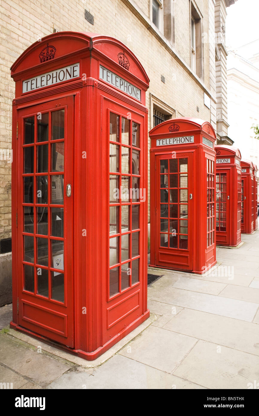 Traditional red British telephone boxes - known as the K2 kiosk - in London, England, UK. - Stock Image