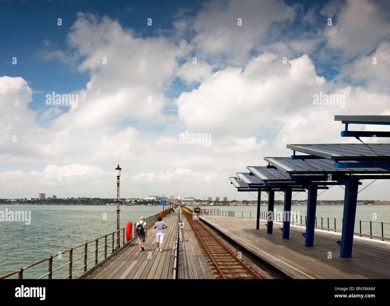 People walking on Southend Pier in Essex - the longest pier in the world. - Stock Image
