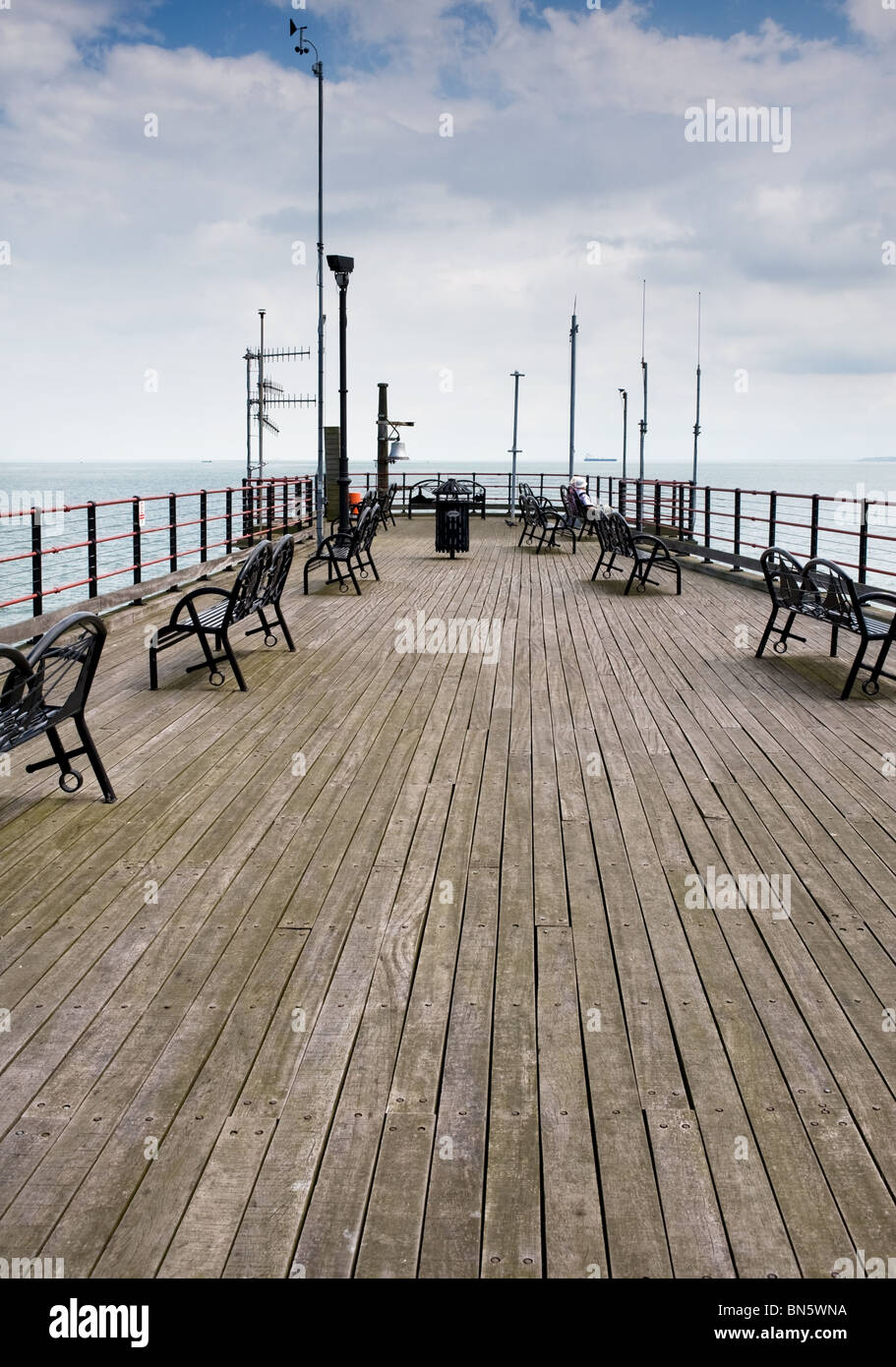 The sundeck on Southend Pier in Essex - Stock Image