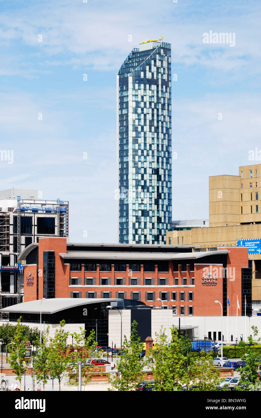 The Beetham Tower West, Liverpools tallest building (2008) at 90 metres 295 feet high and Crowne Plaza Hotel Stock Photo