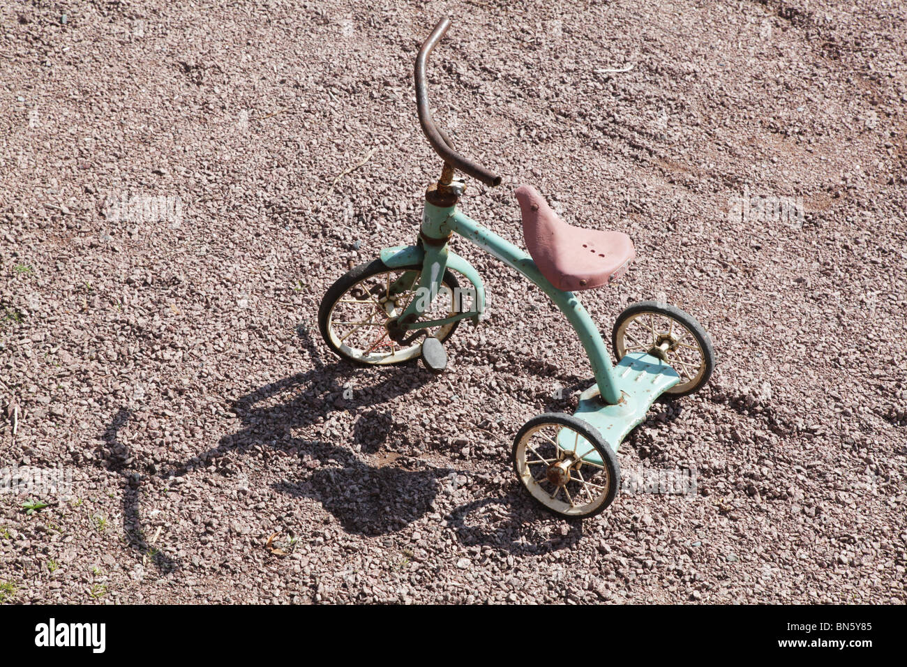 Antique Classic Child Children S Tricycle On A Gravel Path Stock Photo Alamy