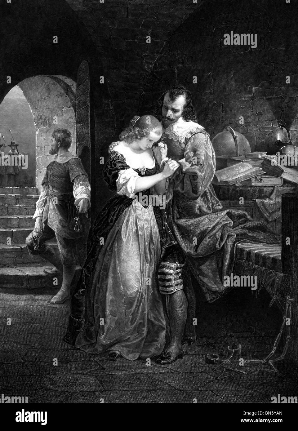 Sir Walter Raleigh, parting with his wife, prior to his execution - Stock Image