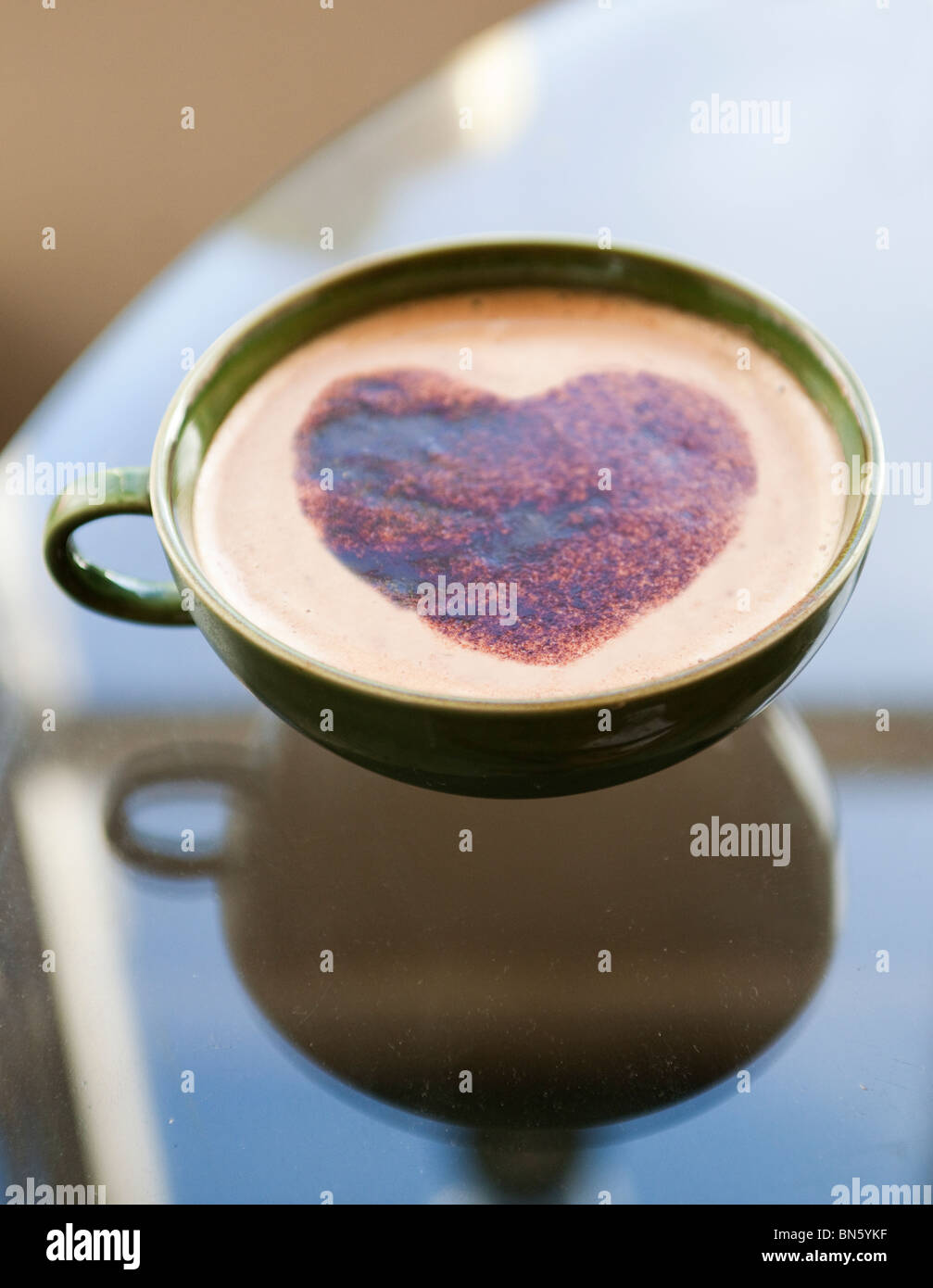 Heart on coffee cup - Stock Image