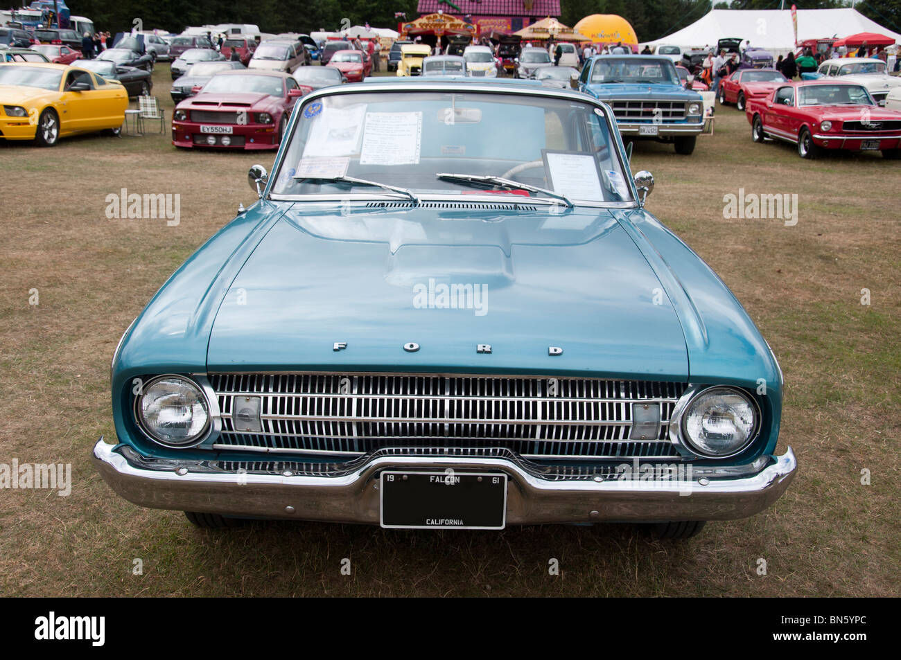 The front of a 1961 ford falcon car at an american car show on 4th july independence day in tatton park cheshire