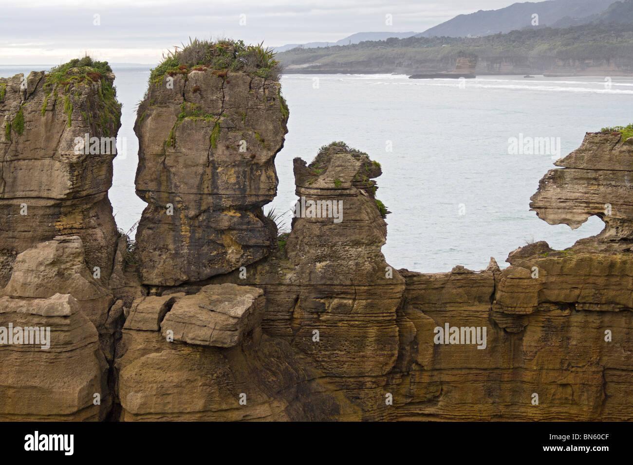 Pancake Rocks at Punikaiki, South Island, New Zealand - Stock Image