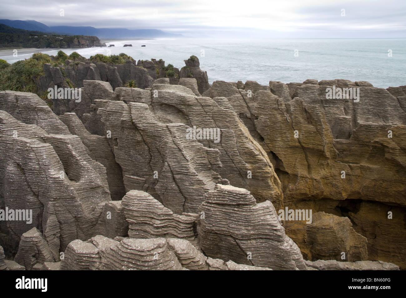 Pancake Rocks at Punakaiki, South Island, New Zealand - Stock Image