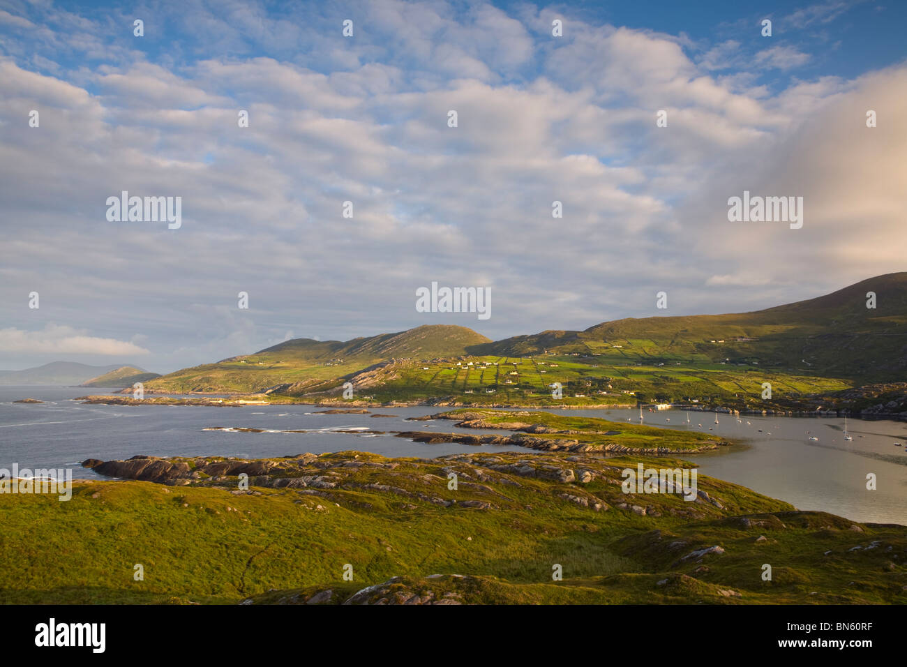 Elevated view over the dramatic coastal landscape of Derrynane Bay, Iveragh Peninsula, Ring of Kerry, Co. Kerry, Stock Photo