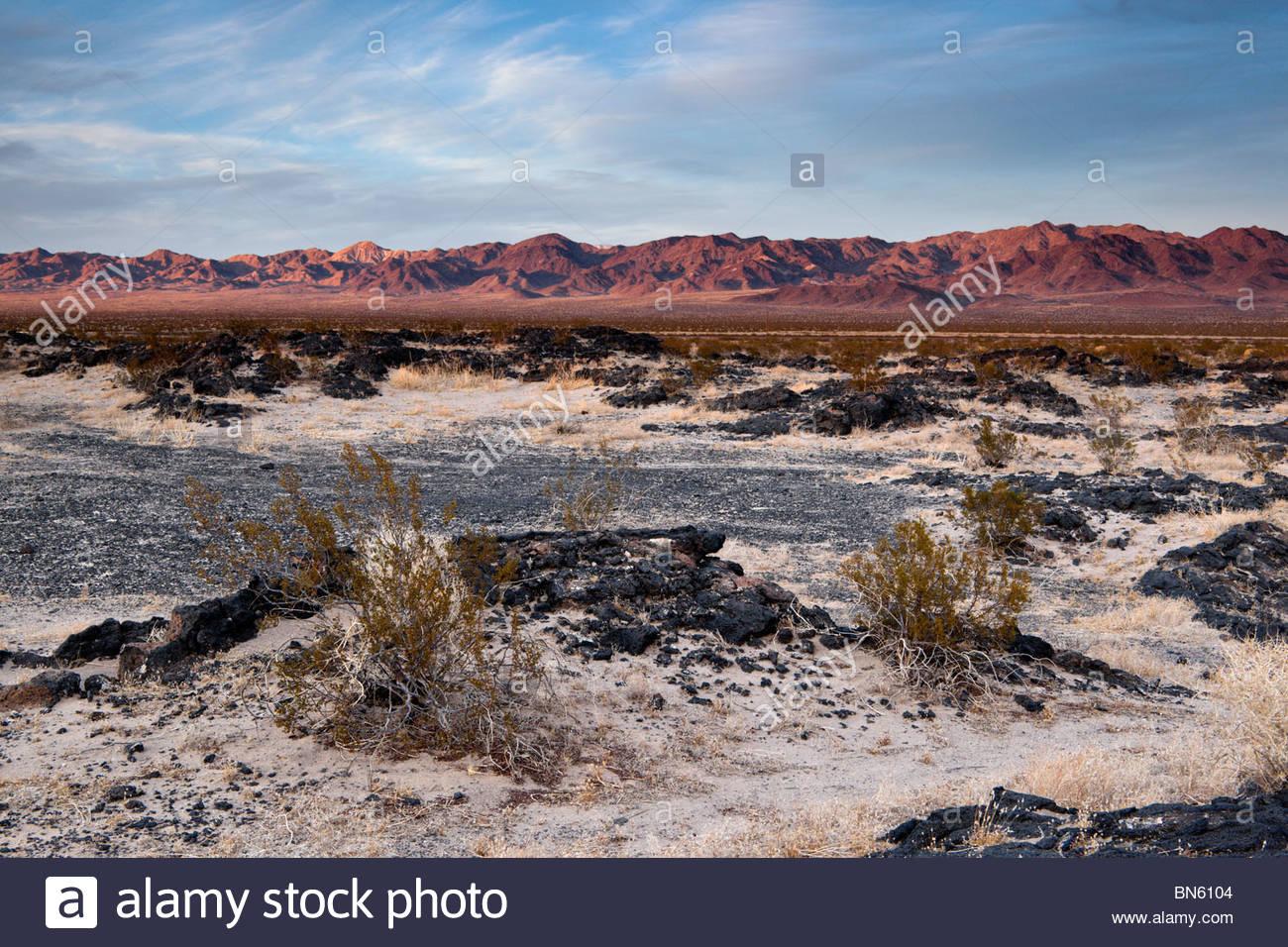 Lava Field in Mojave Desert, Amboy Crater National Natural Landmark, California - Stock Image