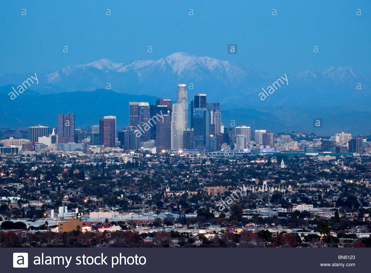 10,068 ft. Mount Baldy Behind Downtown Los Angeles Skyline, California Stock Photo