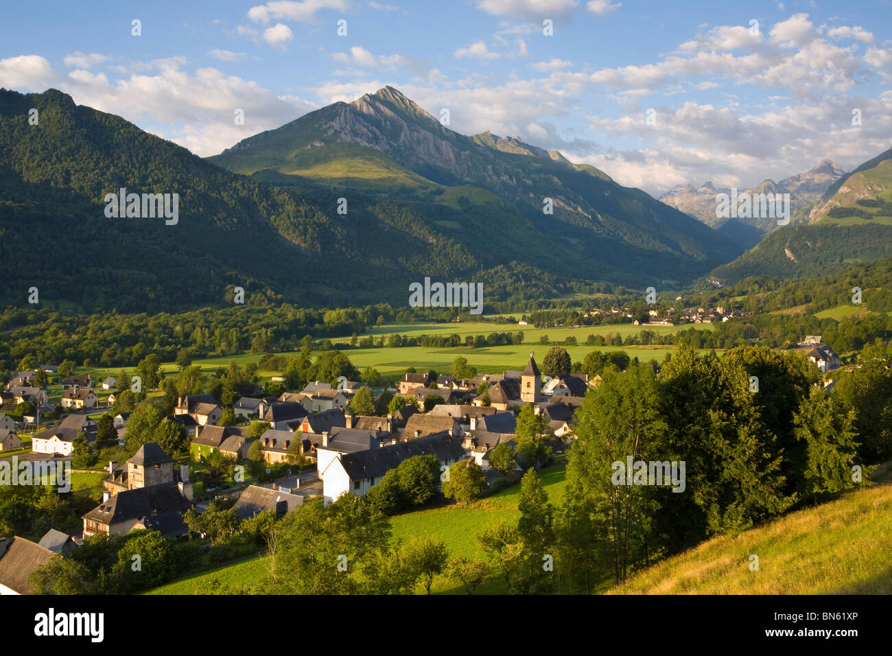 Morning light illuminates the charming Village d'Aucun, Hautes- Pyrenees, France Stock Photo