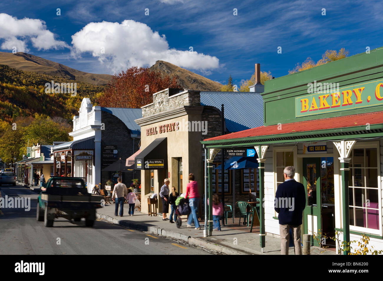 Main street of the historic gold mining town of Arrowtown, Otago, South Island, New Zealand Stock Photo