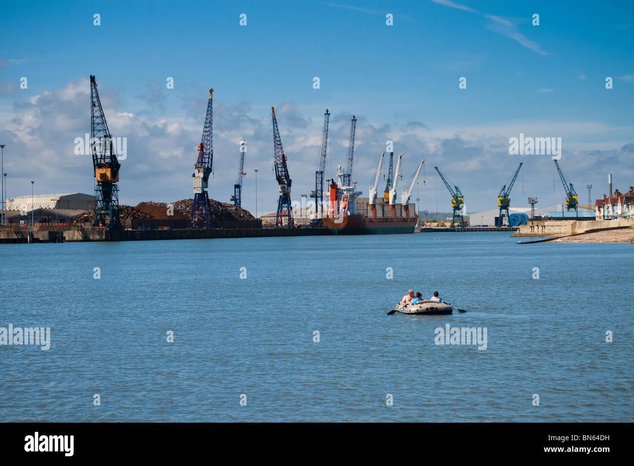 Shipping Docks and Pleasure Dingy, The Headland, Hartlepool, England - Stock Image