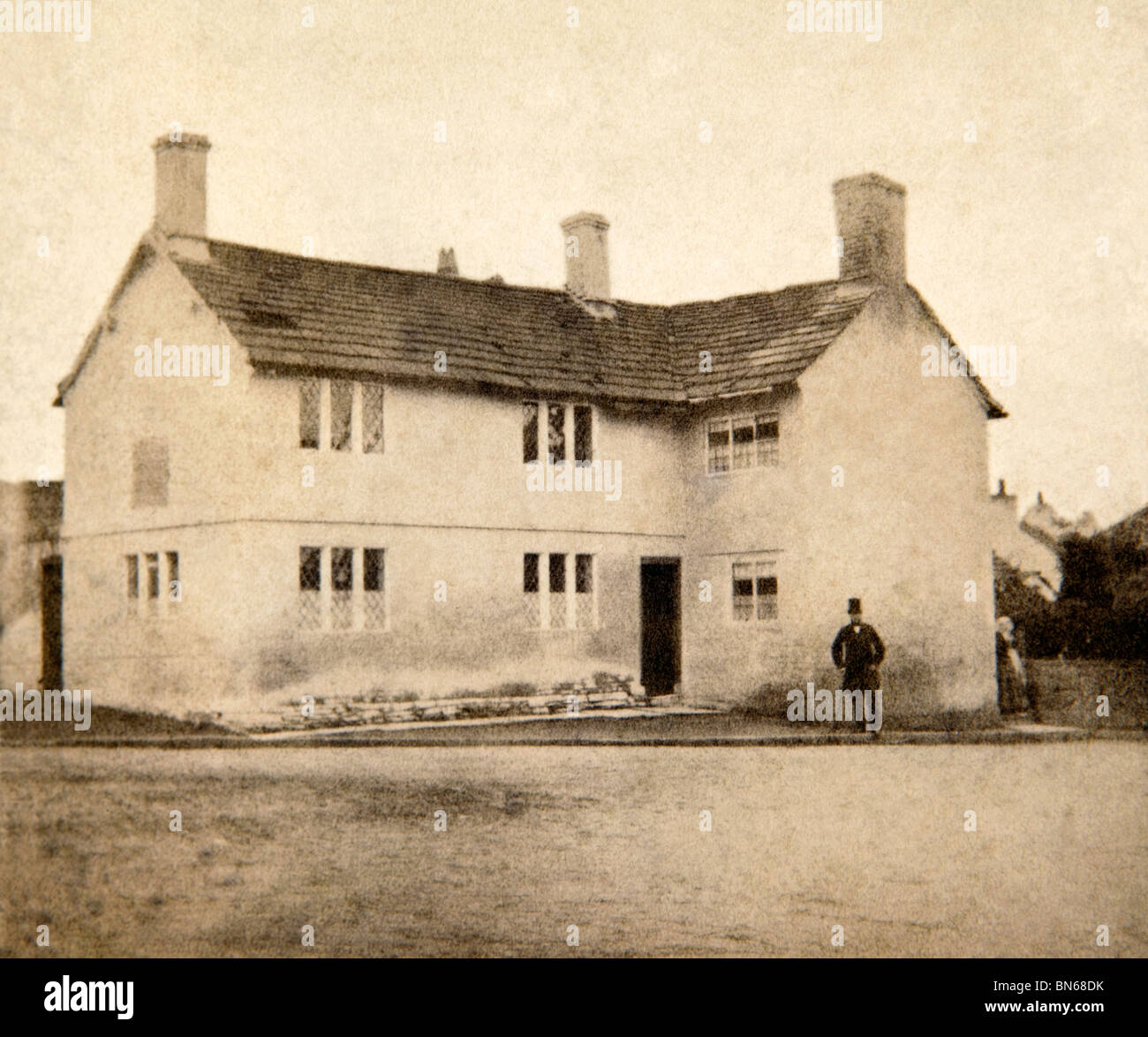 UK, England, Cheshire, Prestbury, The Old School House, 1860s Victorian photograph - Stock Image