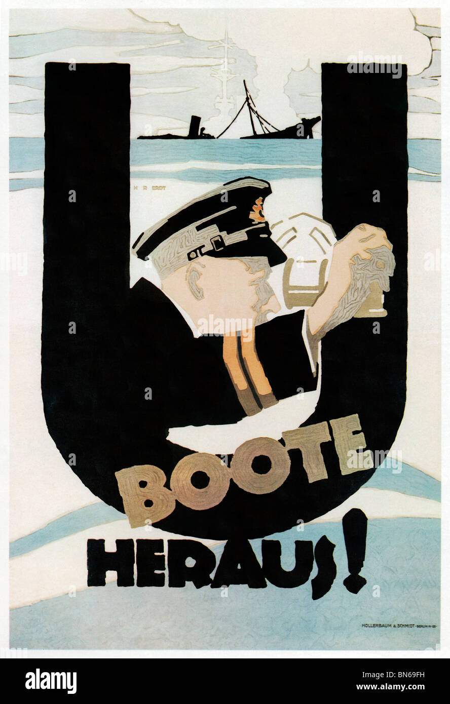 U Boats Away, 1917 poster by Erdt for a German propaganda film about submarine warfare and a sortie by U-178 from - Stock Image