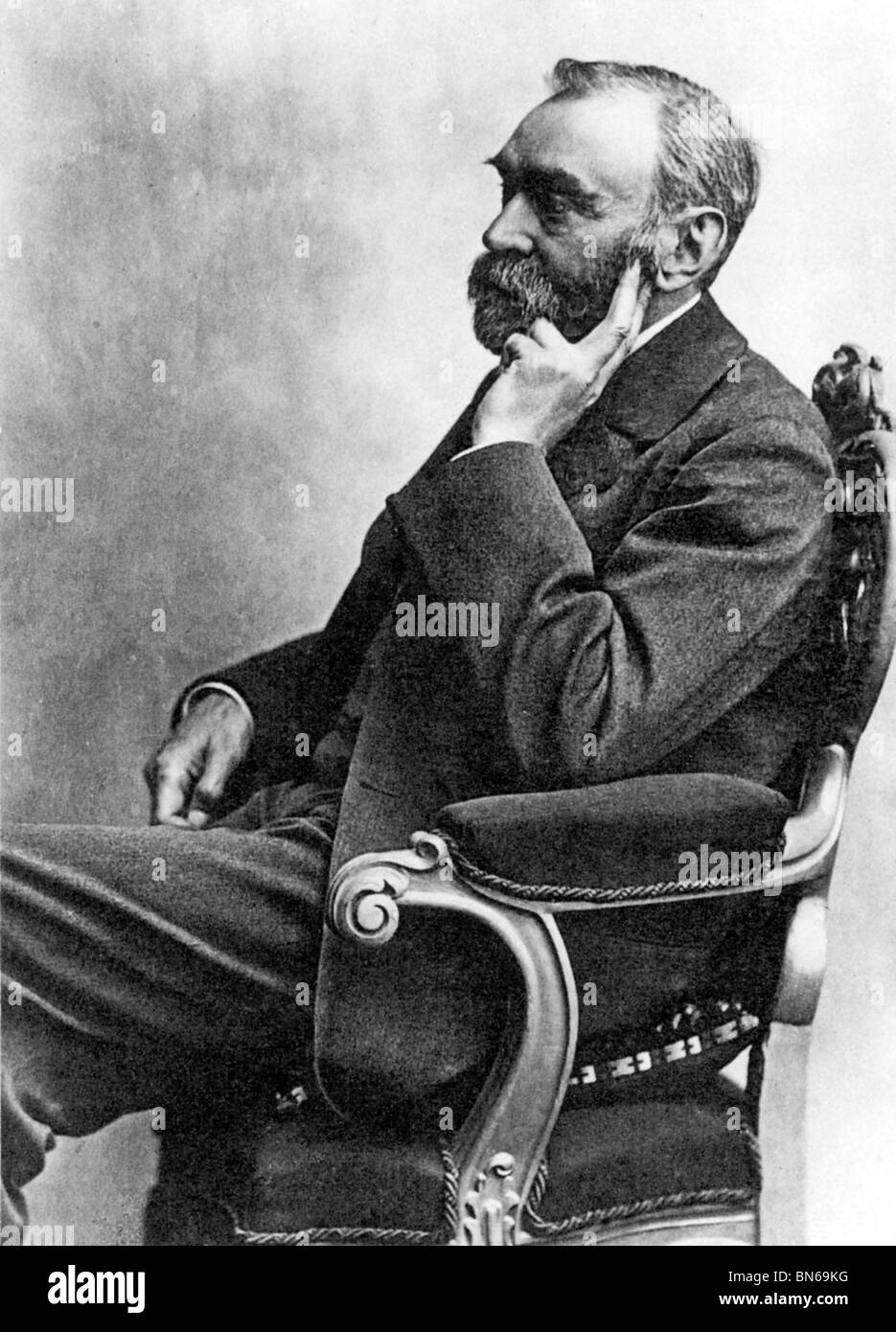 Alfred Nobel, 1833-1896, portrait of the Swedish industrialist, inventor of dynamite, and father of the Nobel foundation - Stock Image