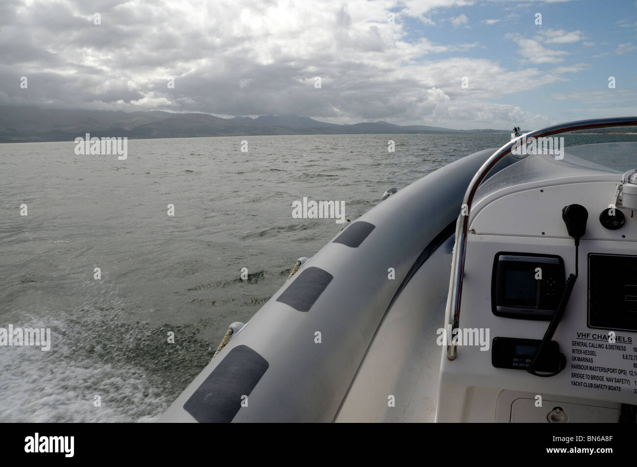 Inflatable rib boat detail - Stock Image